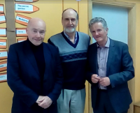Sean Love, Executive Director of Fighting Words, Tom Sigafoos, and Conor Carney, Principal, Holy Family NS, 12 June 2017