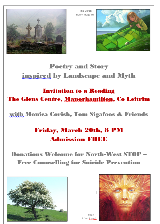Poetry and Story inspired by Landscape and Myth – A Reading at the Glens Centre March 20 8 PM